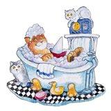 Bubble Bath Cat Art Print