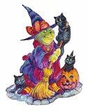 Witchcat With Broom Art Print