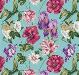 Floral Waltz Aqua Art Print