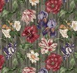 Floral Waltz Textured Scroll Stripe Slate Art Print