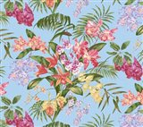 Tropic Bouquet Aqua Art Print