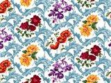 Twiggy Scroll Floral Multi White Art Print