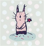Polka Dot Kitty Art Print