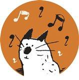 Orange Music Cat Art Print