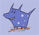 Purple Polka Dot Dog Art Print