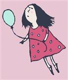 Balloon Girl Pink Art Print