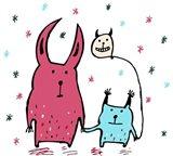 Two Little Monsters Art Print