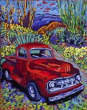 Red Truck Luck Art Print