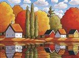 Fall Water Cabin Reflections Art Print