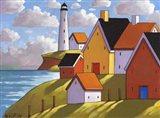 Lighthouse Cottage Hillside View Art Print
