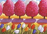 Pink Trees Path & Tulips Art Print