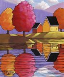 Purple Mountains Colorful Trees & Cottages Art Print