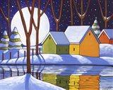 Reflection Winter Night Art Print