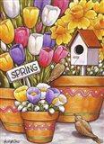 Spring Birds Flowers Art Print