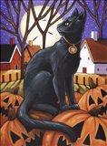 Moon Cat & Pumpkins Art Print