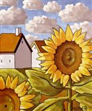 Sunflower & Cottages Scenic View Art Print