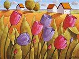 Tulips Landscape Yellow Art Print