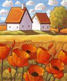Red Flower Fields Landscape Art Print