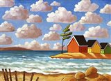 Waves and Colorful Cabins Beach Art Print