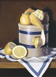 Blue Stripes & Lemons Art Print