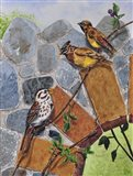 Song Sparrow and Cedar Waxwings Art Print