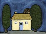 Cottage with Blue Door Art Print