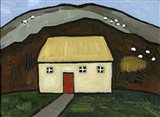 Cottage with Red Door Art Print