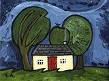 Cottage at Night Art Print