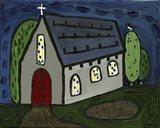 Church with Red Door Art Print