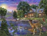White Tail Deer Lakehouse Art Print