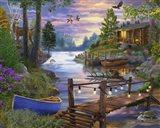 Footbridge by the Lake Art Print