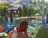 Summer at the Boathouse Art Print