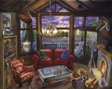 Evening In The Cabin Art Print