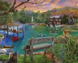 Lakeside View from the bench Art Print