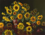 Sunflowers with Two Crimson Vases Art Print