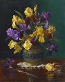 Iris in Cloisonne Vase Art Print