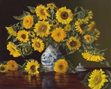 Sunflowers in Blue and White Vase Art Print