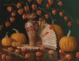 Chinese Lanterns Pumpkin And Fan Art Print