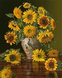 Sunflowers In A Peacock Vase Art Print