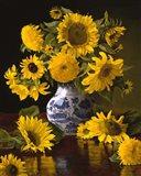 Sunflowers in Blue & White Chinese Vase Art Print