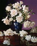White Peonies in Blue Chinese Vase Art Print