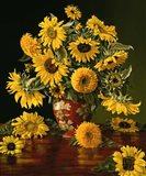 Sunflowers in a Crimson Vase Art Print