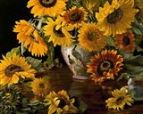 Sunflowers in a White Chinese Vase Art Print