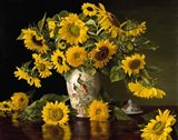 Sunflowers in a Chinese Peacock Vase Art Print