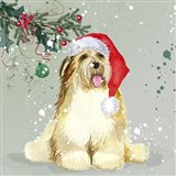 Dog In Christmas Hat Art Print
