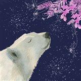Polar Bear Pink Foliage Art Print