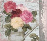 Chalet d ete roses Art Print