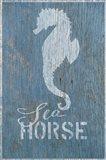 Seahorse on Blue Art Print