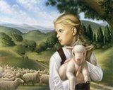 Girl With Lamb Art Print