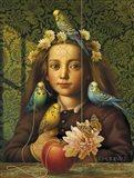 Girl With Parakeets Art Print